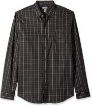 Van Heusen Men's Flex Long Sleeve Button Down Stretch Windowpane Shirt