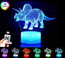 Goodream Children 3D Illusion Lamp Remote Control Dinosaur Night Light for Kids