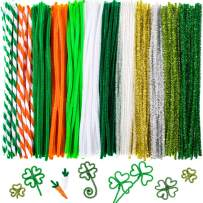 Whaline 350 Pcs Green Pipe Cleaners, St. Patrick's Day Craft Chenille Stems for DIY Craft Art Supplies (Green, White, Orange)