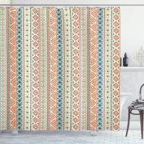 """Ambesonne African Shower Curtain, Vertical Geometrical Borders with Ornaments Folkloric Pattern, Cloth Fabric Bathroom Decor Set with Hooks, 75"""" Long, Orange Blue"""