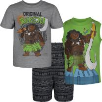 Disney Moana Maui Toddler Boys' 3-Piece T-Shirt & French Terry Shorts Set, Grey