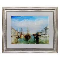 "UpperPin The Grand Canal, Venice, Engraved by William Turner, Giclee Print Watercolor Painting on Premium Quality Paper, Antique Silver Frame, Framed Size 28"" x 23"", Ready to Hang"