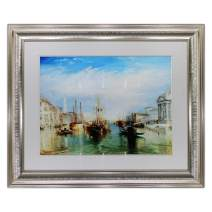 """UpperPin The Grand Canal, Venice, Engraved by William Turner, Giclee Print Watercolor Painting on Premium Quality Paper, Antique Silver Frame, Framed Size 28"""" x 23"""", Ready to Hang"""