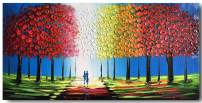 Yihui Arts Handmade Living Room Wall Pictures Blue Landscape Painting Abstract Canvas Art (24Wx48L)
