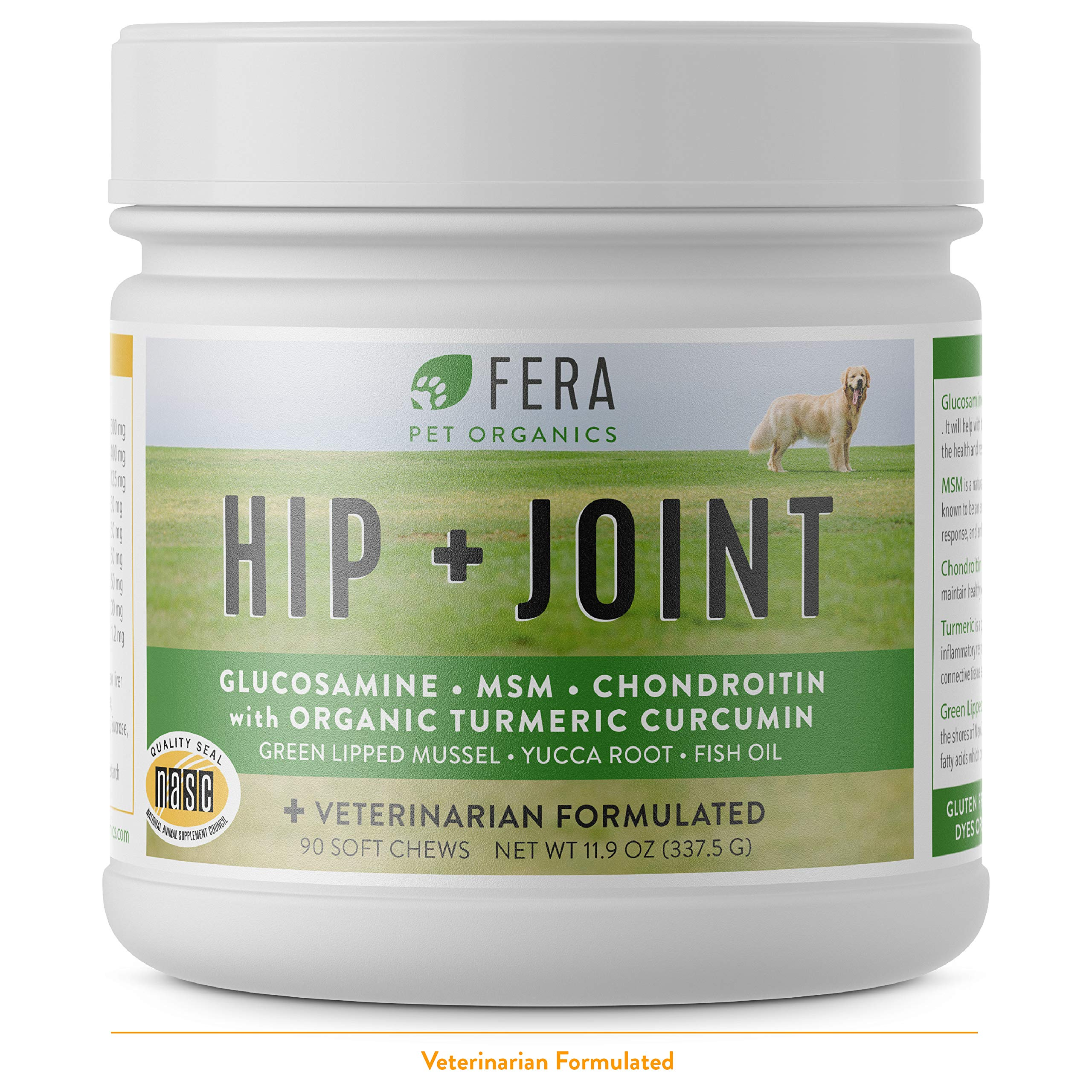 FERA PET ORGANICS Glucosamine Chondroitin Chews for Dogs - All Natural Hip and Joint Supplement with MSM, Omega-3, Vitamin C, Hyaluronic Acid, Organic Turmeric - Advanced Max-Strength Vet Formulated