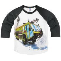 Shirts That Go Little Boys' Big Airport Fire Truck Raglan T-Shirt