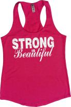 Orange Arrow Womens Workout Tops - Strong is Beautiful - Running Racerback Tank