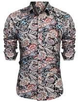 URRU Men's Floral Dress Shirt Long Sleeve Casual Paisley Printed Button Down Shirt S-XXL