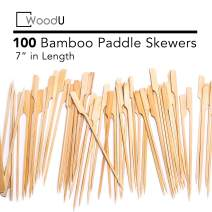"WoodU Bamboo Picks Paddle Skewers (Pack of 100), 7"" Cocktail Picks, Eco-Friendly Biodegradable"