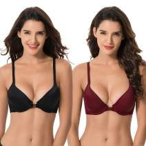 Curve Muse Womens Plus Size Full Coverage Underwire Front Close Bras-1PK or 2PK