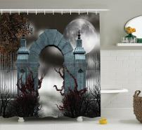 """Ambesonne Gothic Shower Curtain, Scary Medieval Middle Age Stone Gate with Fog Full Moon and Ivy Dark Night Theme Art, Cloth Fabric Bathroom Decor Set with Hooks, 84"""" Long Extra, Grey Red"""