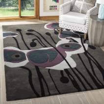 Safavieh Soho Collection SOH853A Handmade Abstract Grey and Blue Premium Wool Area Rug (5' x 8')