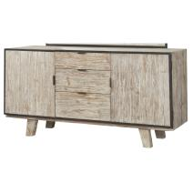 Emerald Home Synchrony Pearl Buffet with Metal Detailing, Three Drawers, And Adjustable Shelves