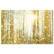 """The Oliver Gal Artist Co. Nature and Landscape Wall Art Canvas Prints 'Magical Forest' Home Décor, 15"""" x 10"""", Gold"""