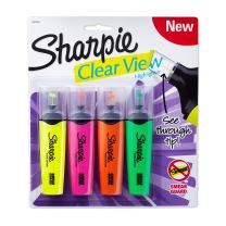 Sharpie 1912769 Clear View Highlighters, Chisel Tip, Assorted Colors, 4-Count