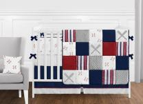 Sweet Jojo Designs Red, White and Blue Baseball Patch Sports Baby Boy Crib Bedding Set with Bumper - 9 Pieces - Grey Patchwork Stripe