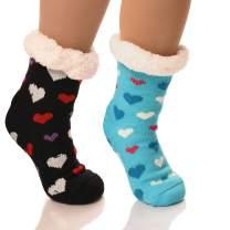 DEBRA WEITZNER Slipper Socks for Women Men Gripper Cozy Socks Winter Socks 2 Pairs