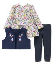 Little Me Baby Girls' 3 Piece Vest Shirt and Pants Set