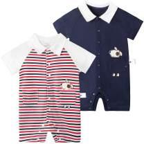 Unisex-Baby Short Sleeve Cotton Onesie Romper, Cute Casual Romper for Newborn Toddlers