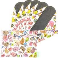 Wegreeco Bamboo Reusable Sanitary Pads - Cloth Sanitary Pads | Light Incontinence Pads | Reusable Menstrual Pads - Pack of 5, 1 Cloth Mini Wet Bag Bonus (Small, Lovely Bird)