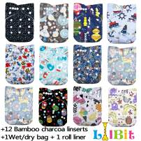 LilBit Baby Cloth Diapers,One Size Adjustable Reusable Pocket Cloth Diaper 12pcs Diapers + 12pcs Charcoal Bamboo Inserts+1 Wet Bag, (color6)