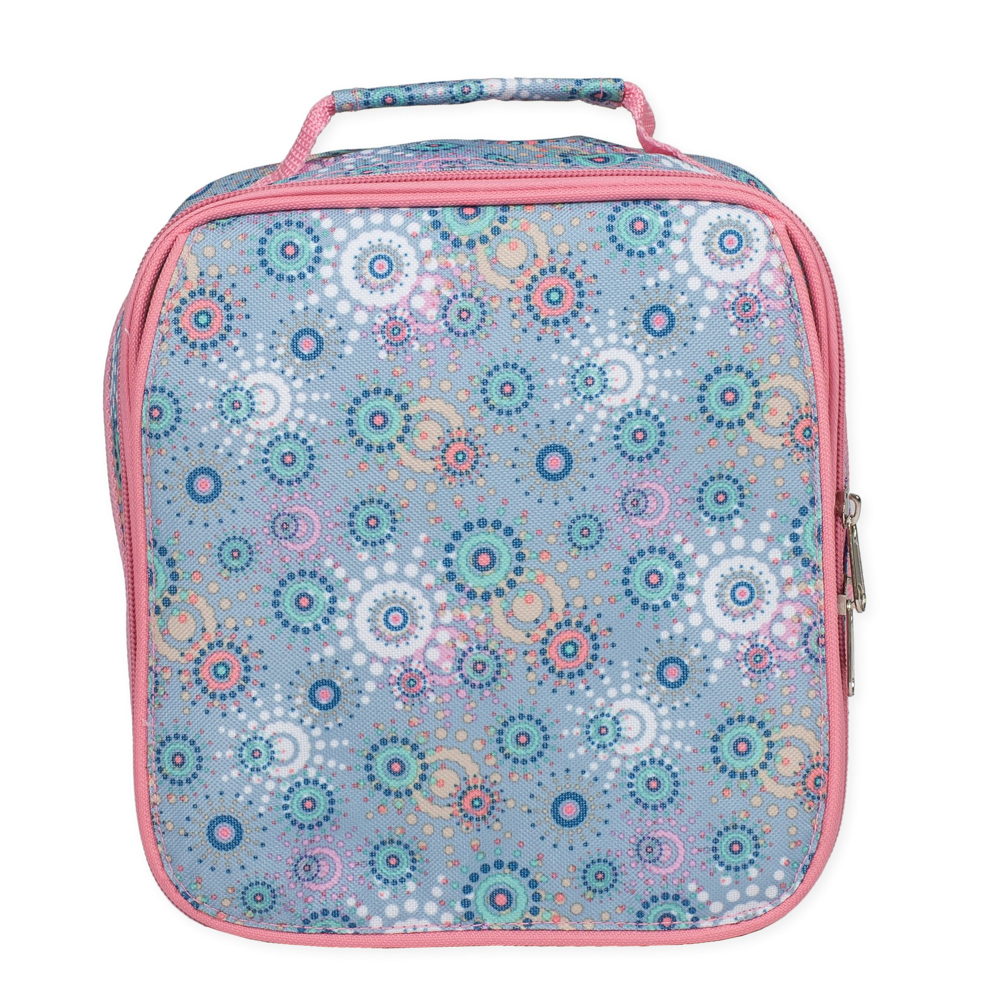 Periwinkle Circle Dot Water Resistant Zipper Closure Isulated Soft Cooler Lunch Bag