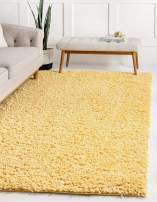 Unique Loom Davos Shag Collection Contemporary Soft Cozy Solid Shag Sunglow Area Rug (4' 0 x 6' 0)