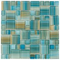 MTO0091   Modern French Pattern Aquamarine Glossy Glass Mosaic Tile
