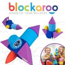 Blockaroo Magnetic Foam Building Blocks - STEM Construction Toy for Girls & Boys, Soft Foam Blocks Develop Early Learning Skills, the Ultimate Bath Toys for Toddlers & Kids - Rocket Set