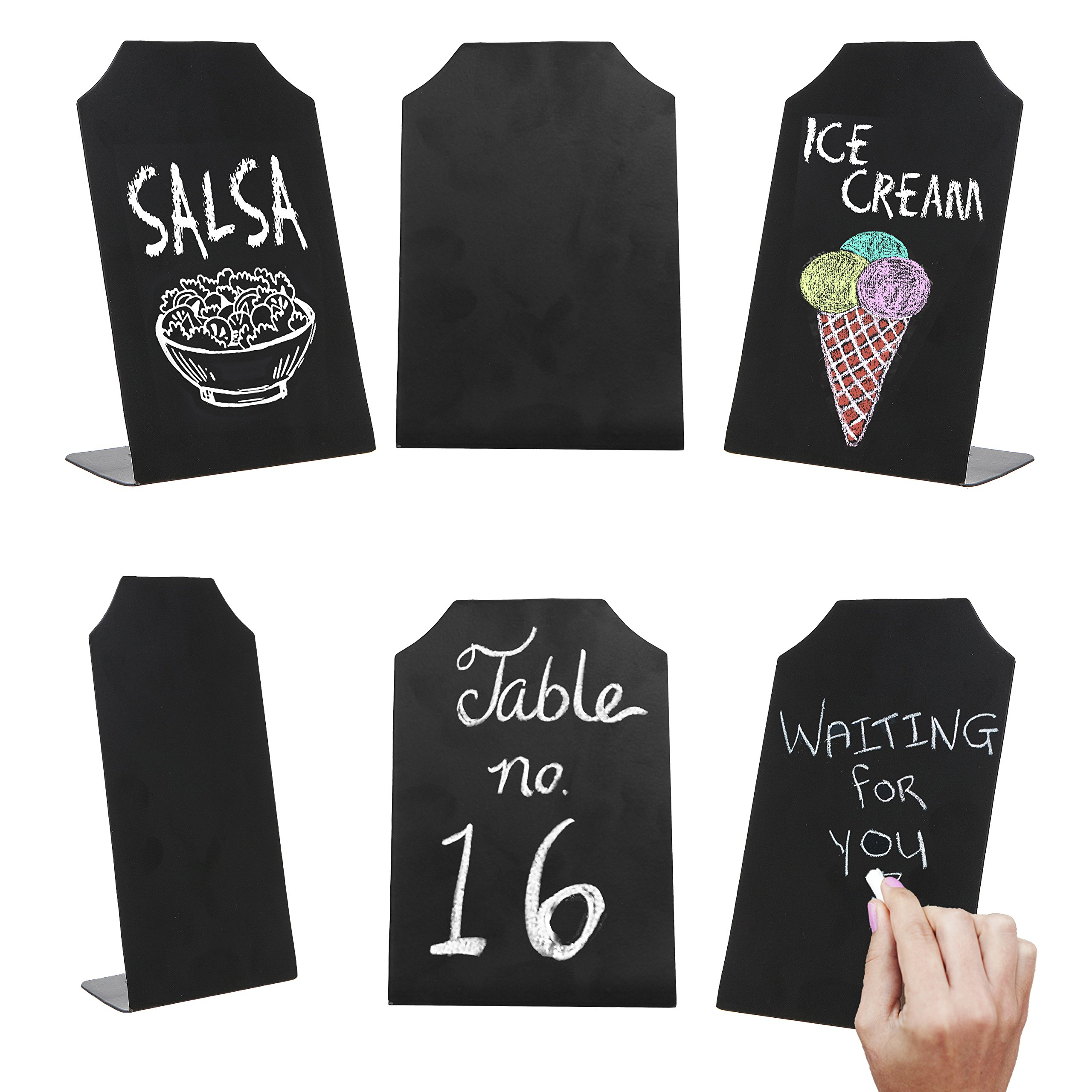 MyGift 6 Inch Small Black Erasable Chalkboard Memo Message Signs, Wedding & Event Place Cards, Set of 6