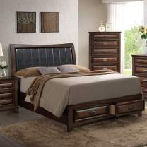 Roundhill Furniture Broval 179 Light Espresso Finish Wood Queen Size Storage Platform Bed
