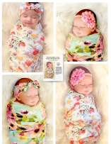 """Organic Cotton 5 Piece Set, 2 Large 40""""x40"""" Swaddle Blankets and 3 Headbands, and Bonus How to Take Baby Photos Like a Pro Guide"""