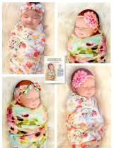 "Organic Cotton 5 Piece Set, 2 Large 40""x40"" Swaddle Blankets and 3 Headbands, and Bonus How to Take Baby Photos Like a Pro Guide"