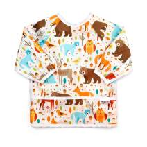 Pikababy Long Sleeved Bib Waterproof Bibs with Pocket - 6 to 24 Months Baby Girl and boy Colors (Forest 2)