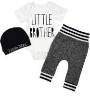 Newborn Baby Boy Clothes Little Brother Letter Print Short Sleeve Romper Pants Hat 3Pcs Outfits Set