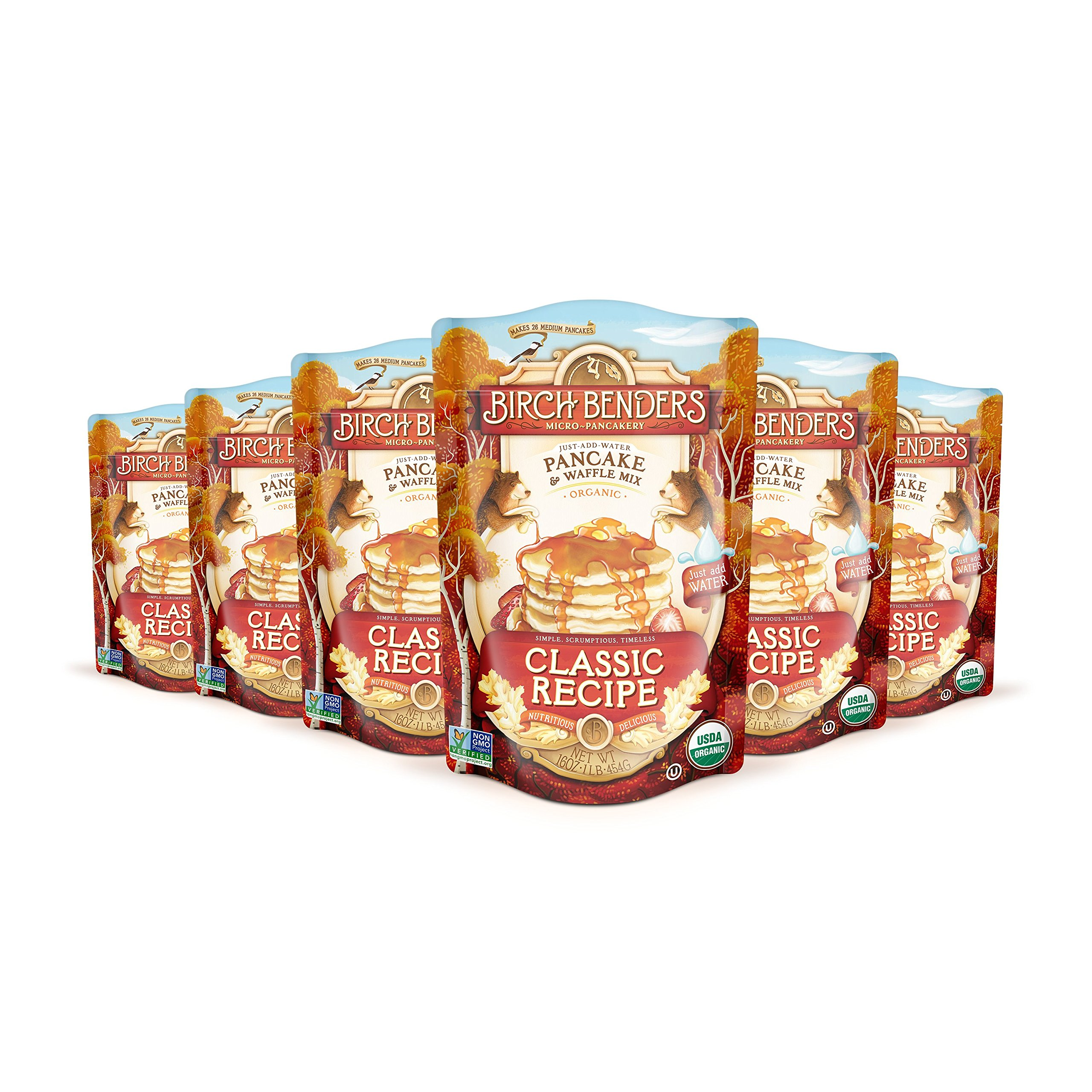Organic Pancake and Waffle Mix, Classic Recipe by Birch Benders, Whole Grain, Non-GMO, Just Add Water, 96 Ounce Family Pack (16oz 6-pack)