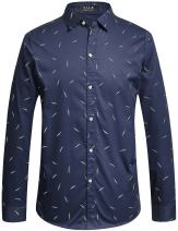 SSLR Men's Printed Slim Fit Button Down Long Sleeve Casual Shirt