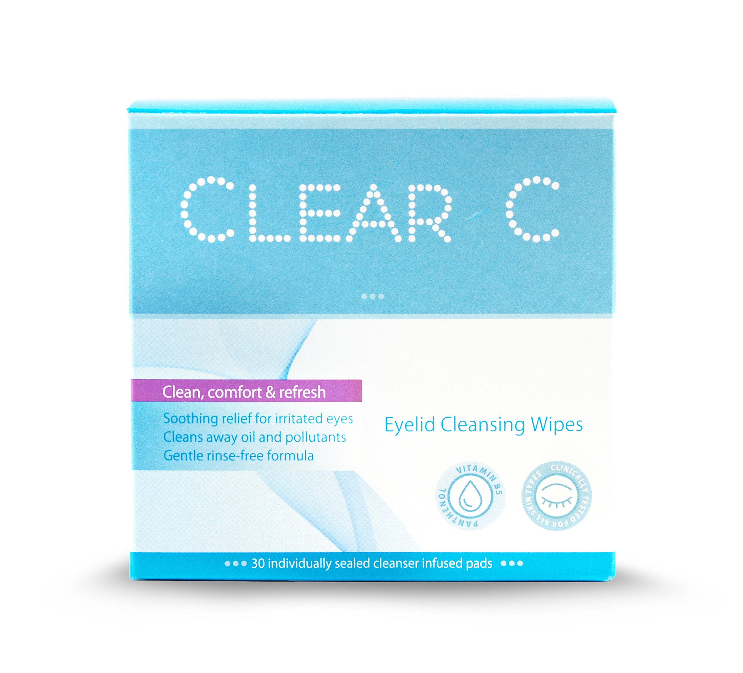 Clear C Premium No Rinse Non Irritating Eyelid Wipes 30 count - Pre-moistened Pads for Dry Eyes, Red Eyes, Daily Use. Box of 30 Individually Wrapped Wipes