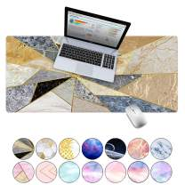 "LuvCase Desk Pad, Office Desk Mat, 35.4"" x 15.7"" PU Leather Desk Blotter, Laptop Desk Mat, Waterproof Desk Writing Pad for Office and Home Decor, Thick Gaming Mouse Pad (Mixed Geometric Marble)"