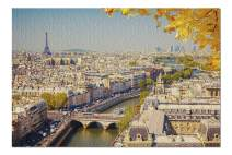 Paris, France - Aerial View of The City in Fall with The Seine & Eiffel Tower 9020233 (Premium 1000 Piece Jigsaw Puzzle for Adults, 20x30, Made in USA!)