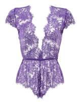 Anyou Womens Lingerie V-Neck Lace Bodysuit Mini Babydoll Featuring Plunging Eyelash Size XS-XXL