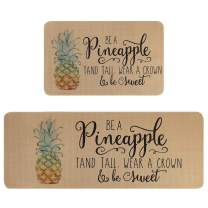 """Falflor Pineapple Kitchen Rugs and Mats Set of 2 Non Slip Stain Resistant Cushioned Comfort Standing Mats Easy to Clean (18""""x 30""""+18""""x 48"""")"""