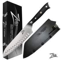 Zelite Infinity Santoku Knife 7 Inch - Alpha-Royal German Series - German High Carbon Stainless Steel - Pakkawood Handle, Leather Sheath