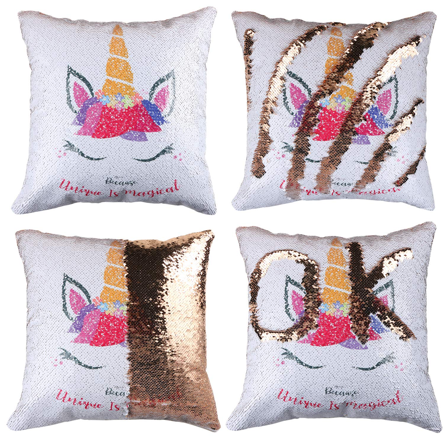 EVERMARKET Mermaid Throw Pillow Cover Magic Reversible Sequin Cover, Throw Cushion Pillow Case Decorative Pillow That Change Color (Unicorn - Gold Sequin)