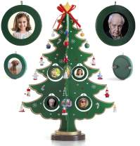 17-Inch Picture Frame Wooden Tabletop Christmas Tree with 8 Hanging Picture Frames Ornaments and 24 Mini Christmas Ornaments with Star Treetop for DIY Christmas Decoration and Family Tree Photo Frames
