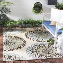 """Safavieh Veranda Collection VER092-0615 Indoor/ Outdoor Cream and Blue Contemporary Area Rug (4' x 5'7"""")"""
