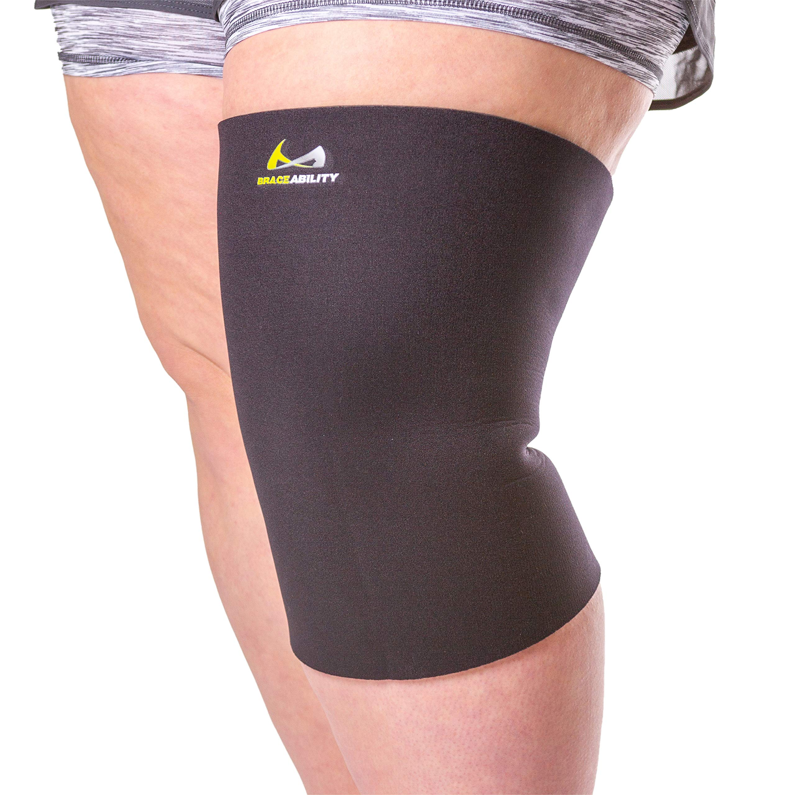 BraceAbility Plus Size Neoprene Knee Sleeve | XXL Compression Support Brace for Bariatric Women & Men with Big Thighs & Arthritis Joint Pain (2XL Wide Calf)