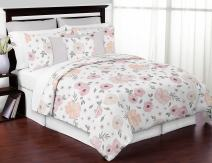 Sweet Jojo Designs Blush Pink, Grey and White Shabby Chic Watercolor Floral Girl King Size Bed in a Bag Bedding Comforter Set Collection - 3 Pieces