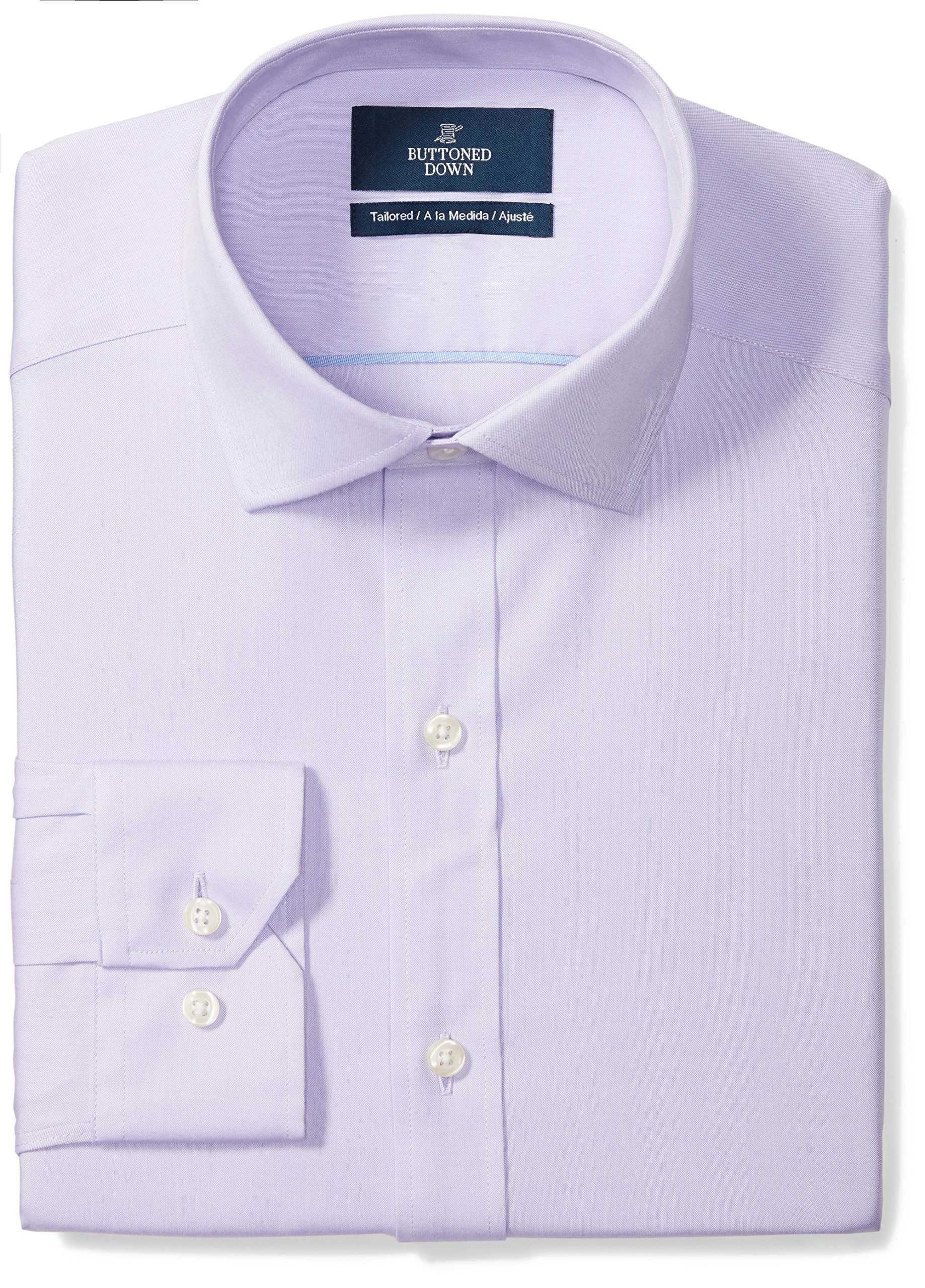 """Amazon Brand - Buttoned Down Men's Tailored-Fit Spread Collar Pinpoint Non-Iron Dress Shirt, Purple, 18.5"""" Neck 36"""" Sleeve (Big and Tall)"""