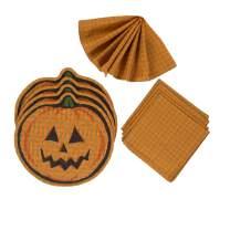 maspar Napkins and Placemats 8 Pack Set, 100% Cotton, 4 Napkins 20x20 Inch, 4 Placemat 14x19 Inch, Dye Cut Shape, Orange/Squash/Black,Machine Washable,for Everyday Kitchen